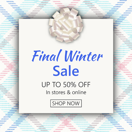 Holiday season sale banner template. Social media product promotion web banner. Christmas background with plaid texture. Vector illustration for cards, ads, promotional material design templates.