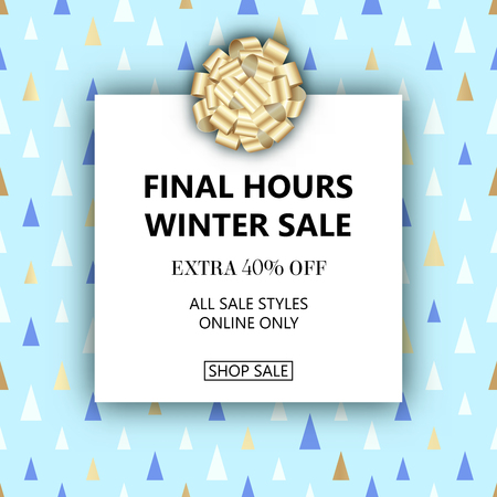 Vector winter season sale banner template. Christmas seamless triangle pattern. Social media product promotion web banner.