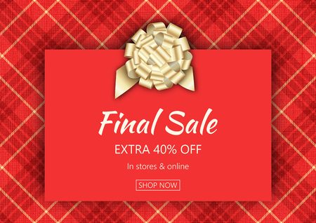 Holiday season sale banner template. Social media product promotion web banner. Christmas background with plaid texture. Vector illustration for sale flyers, posters, cards, ads, promotional material design templates.