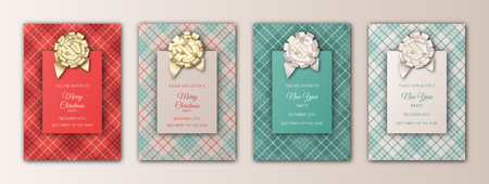 Merry Christmas and New Year invitation card design. Templates for holidays season flyers, banners, posters, cards. Christmas background with plaid texture, foil decoration elements and lettering.  イラスト・ベクター素材