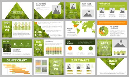 Geometric polygonal presentation design template. Business presentation design template. Green ecology theme slides. Polygonal geometric design.