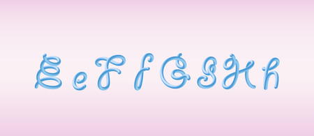 3D Rounded Font. Glossy blue bubble typeset with letters e, f, g, h. Tube Alphabet. Handwritten lettering. Vector eps 10.