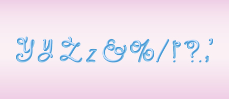 3D Rounded Font. Glossy blue bubble typeset with letters y, z and signs. Tube Alphabet. Handwritten lettering. Vector eps 10.