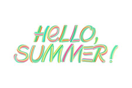Phrase Hello Summer on 3d lettering effect. Paint brush strokes Vector