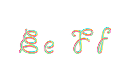 Bold colorful font. 3D effect alphabet. Handwritten letters formed by twisted lines. Calligraphic font style, vector design template elements.  イラスト・ベクター素材