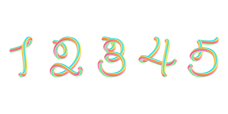 Bold colorful font. 3D effect alphabet. Handwritten numbers formed by twisted lines. Calligraphic font style, vector design template elements.