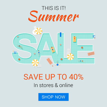 Trendy summer promotion banner with swimming pool. Summertime hot sales advertising. Creative discount background design for the online store.  イラスト・ベクター素材