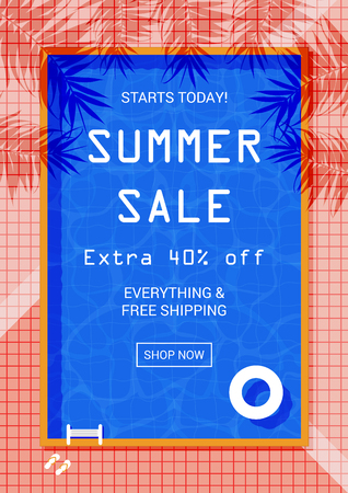 Summer sale promotion flyer design template. Swimming pool background decoration. Memphis style promo banner for the online store.