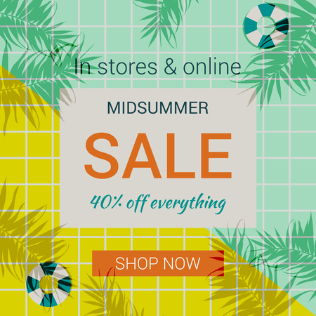 Trendy summer sale promotion banner template. Swimming pool background flat style vector illustration. Summertime hot sales advertising, creative promotion design for the online store.