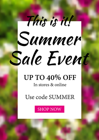 Summer sale event promotion flyer template. Abstract blurred flower background. Promo design for the online store vector.