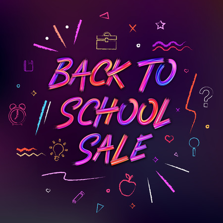 Back to School Sale background. Brushstrokes lettering for banners, posters, flyers. Color oil or acrylic paint letters. Pencil hand drawn elements and icons.  イラスト・ベクター素材