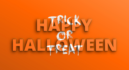 Happy Halloween, Trick or treat. Horizontal orange holiday greeting banner with 3d and brush lettering.