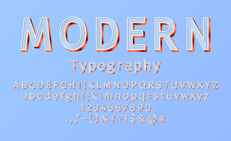 Vector modern sans serif alphabet and font. 3D bright lowercase and uppercase letters, signs and numbers. Typography for promotion, posters, t shirt, sale banner, prints, decoration.