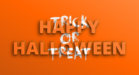 Happy Halloween, Trick or treat. Horizontal orange holiday greeting banner with 3d and brush lettering. Vector illustration EPS10  イラスト・ベクター素材