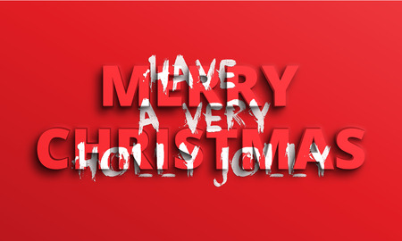 Have a very Merry Holly Jolly Christmas. Horizontal red holiday greeting banner with 3d and brush lettering.  イラスト・ベクター素材