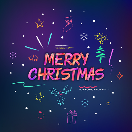 Merry Christmas brushstroke lettering for banners, posters, flyers. Colorful oil or acrylic paint letters. Chalk hand drawn elements and icons.  イラスト・ベクター素材