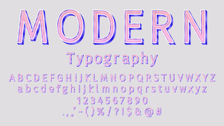 Vector modern sans serif alphabet. 3D bright lowercase and uppercase letters, signs and numbers. Typography for promotion, posters, t shirt, sale banner, prints, decoration.  イラスト・ベクター素材
