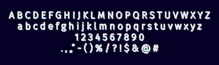 Vector modern sans serif alphabet and font. 3D bright holographic lowercase and uppercase letters, signs and numbers. Typography for promotion, posters, t shirt, sale banner, prints, decoration.