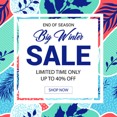Winter sale in Memphis style. Trendy cute background.