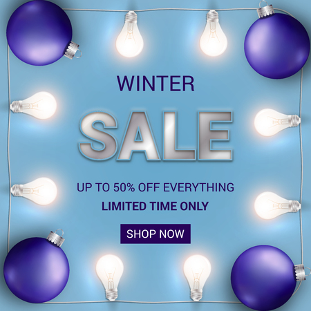 Vector winter sale web banner. Blue background with glowing white lights garland and Christmas bulb.  イラスト・ベクター素材
