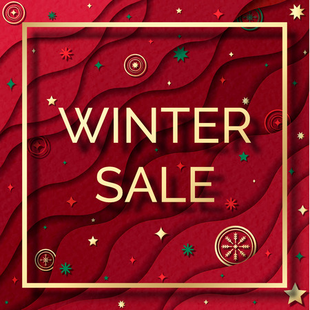 Winter sale web banner. Paper cut style square background. Red abstract decoration elements.