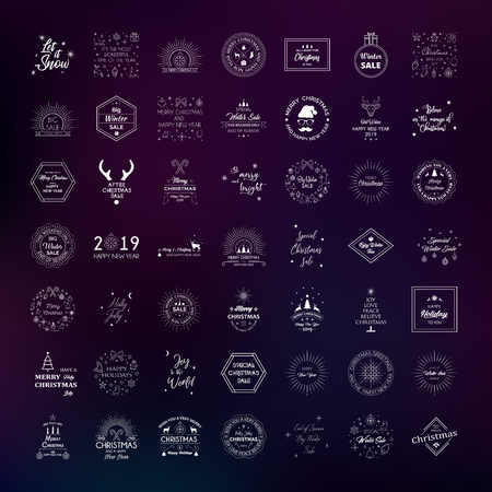 Vector collection of christmas and new year stickers, badges, emblems, logos and symbols. Design tags for sale, gift tags, web design and marketing promotion material.