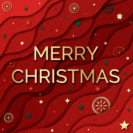 Merry Christmas web banner. Paper cut style background. Red abstract decoration elements.