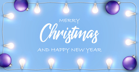 Vector Merry Christmas and Happy New Year banner. Blue background with glowing white lights garland and Christmas bulb.
