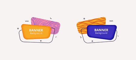 Vector banner set. Abstract geometric rounded shapes in bold colors in Memphis design style. Templates for web, logo, card or presentation design.