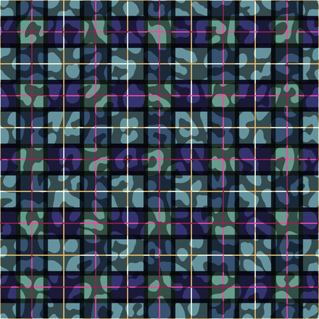 Wild animal skin print and geometric pattern combination. Tartan skin pattern. Abstract grid design.