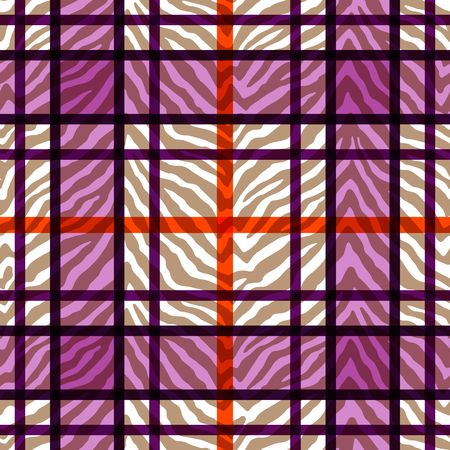Wild animal skin and geometric pattern combination. S eamless tartan and overlaid zebra skin print. Abstract grid design.