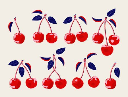 Vector set of cherry berries and leaves. Bold graphic, fun fruit motif.