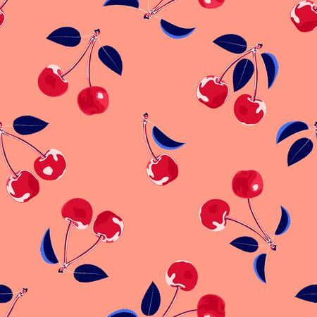 Cherry print. Summer fruit seamless pattern. Bold graphic, fun fruit motif. 일러스트