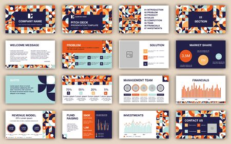 Pitch deck presentation design template. Geometric abstract shapes composition. Vector flyer, leaflet, advertising, flyer, leaflet, advertising.
