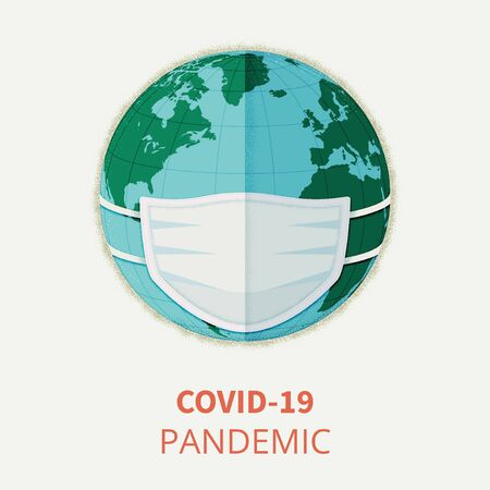 Vector concept illustration of Earth wearing medical mask. Coronavirus Covid-19 pandemic. Global quarantine