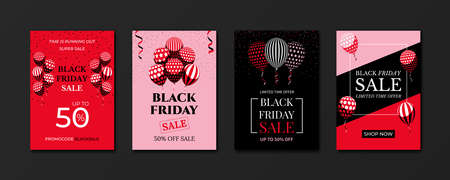 Black Friday sale banner. Advertising sale posters design templates set. Bunch of balloons and confetti in minimal flat style