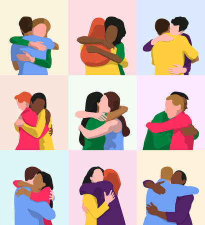 Two people hugging. Multiethnic couples having a hug. Support and unity, social diversity and health benefits concepts. Vector flat illustration.