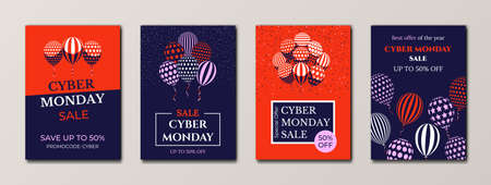 Cyber Monday sale banners. Advertising sale posters design templates set. Bunch of balloons and confetti in minimalist flat style.