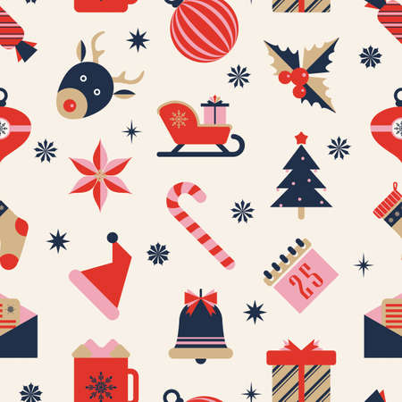 Seamless Christmas pattern. Winter holidays shopping theme background design of icons. Vector texture for gift wrap, wallpaper, web banner background, wrapping paper and fabric patterns.  イラスト・ベクター素材