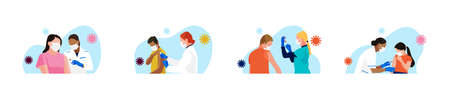 Ð¡ovid-19 mass vaccination. Set of people of different age, race, gender receiving vaccine. Doctors and nurses with syringe in hand. Kids vaccination. Vector spot illustrations.