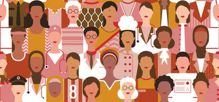 International Women's Day. Women in leadership, woman empowerment, gender equality concepts. Seamless pattern. Crowd of women of diverse age, races and occupation. Vector illustration background.