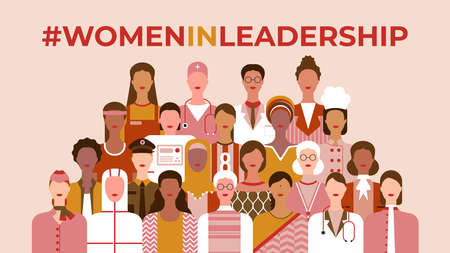 International Women's Day. Women in leadership, woman empowerment, gender equality, girl power concepts. Group of women of diverse age, races and occupation. Vector horizontal banner.  イラスト・ベクター素材