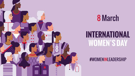 International Women's Day. Women in leadership, woman empowerment, gender equality, girl power concepts. Crowd of women of diverse age, races and occupation. Vector horizontal banner.
