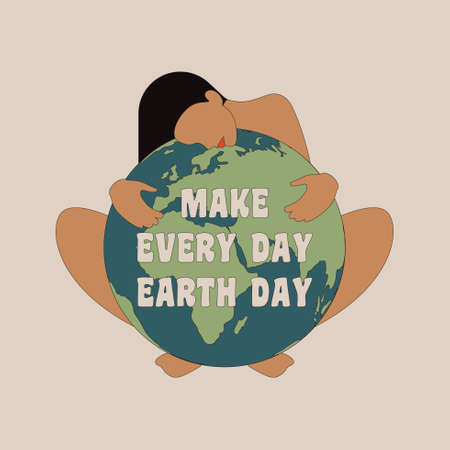 International Mother Earth Day. Vector illustration of woman hugging the Earth for banners, cards and prints. Make every day Earth day. Save the planet concept.