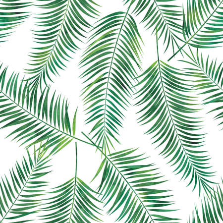 Tropical palm leaves print pattern. Vector watercolor seamless pattern.