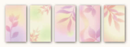 Vector set of gradient backgrounds for social media stories. Abstract background with blurred elements. Social networks vertical banner design templates. Foliage, autumn leaves vector illustration.