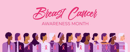 Breast cancer awareness month poster. Pink October vector illustration. Group of women of diverse age, races and occupation wearing pink ribbons for breast cancer.