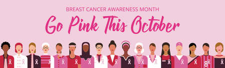 Breast cancer awareness month. Go pink this October lettering. Cancer prevention and women support vector medical concept. Pink October web banner. Group of women of diverse age, ethnicity and occupat