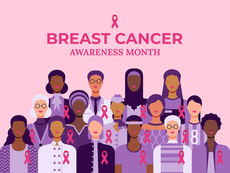 Breast cancer awareness month. Pink October web banner. Cancer prevention and women support vector medical concept. Group of women of diverse age, races and occupation wearing pink ribbons for breast