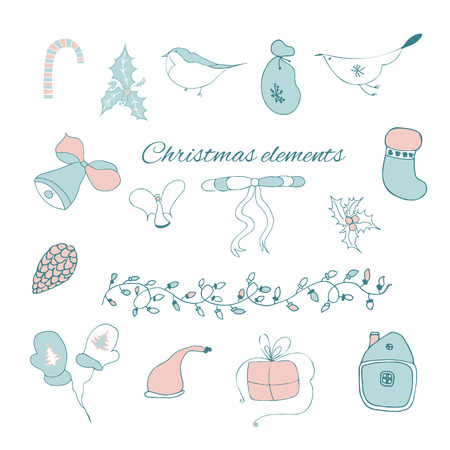 separately: Hand drawn Christmas elements in vector. Can be used as a poster or separately for design. Illustration